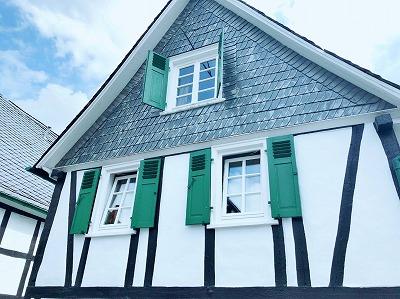 白黒に緑のアクセントのお家