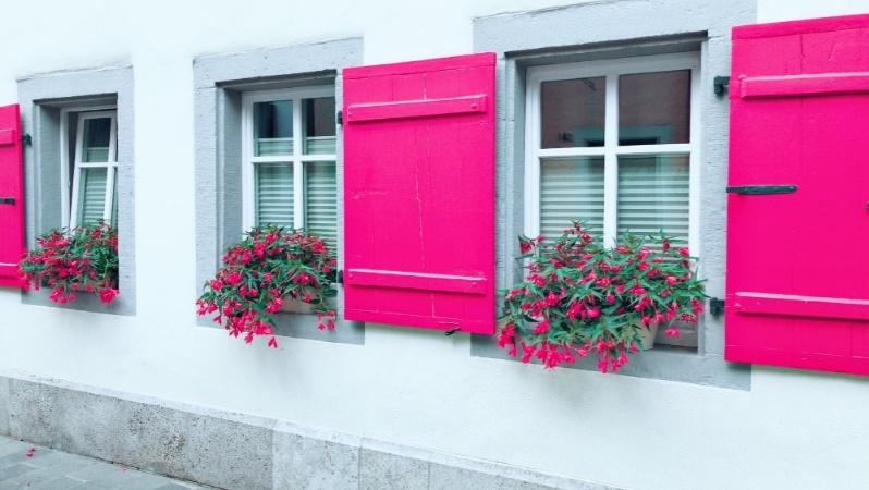 パッションピンクの窓のお家