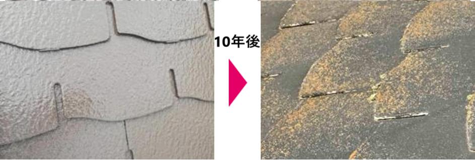 スレート屋根(10年後の変化)