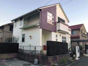 アイボリーと紫の家