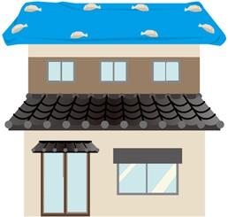 屋根に土のう