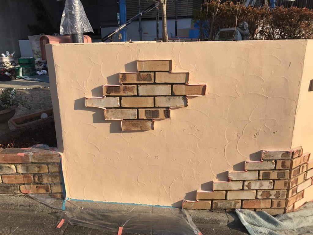 タイルを貼ったブロック塀