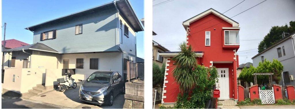 外壁と塀を同じ色にした例