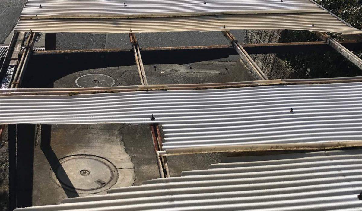 カーポート屋根の台風被害