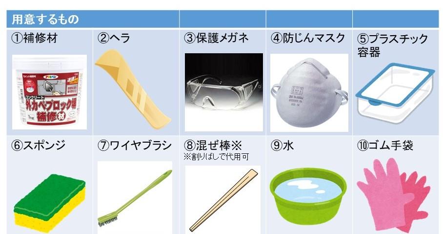 ひび補修のDIY道具